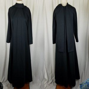 Vintage Black Weighted Built In Scarf Maxi Dress M